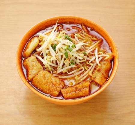 Curry Laksa which is a popular traditional spicy noodle soup from the Peranakan culture in Malaysia and Singapore Stock Photo - 18289859