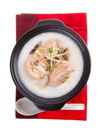 Porridge, chicken Porridge  congee  served in claypot Archivio Fotografico