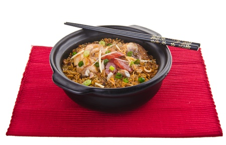 Claypot pollo arroz asia china comida photo
