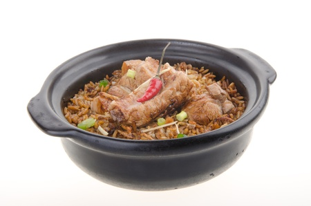 Claypot pork rice  asia chinese food photo