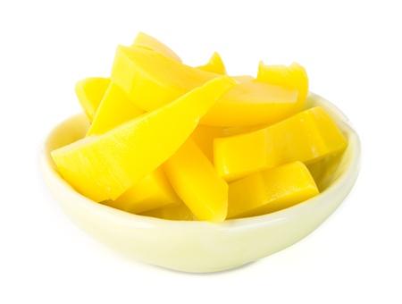 mango fruta: conserva de mango frutas Merienda en el fondo Foto de archivo