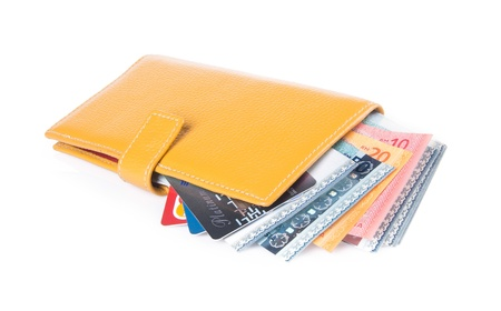 wallet. woman wallet with money on background Stock Photo - 21236673
