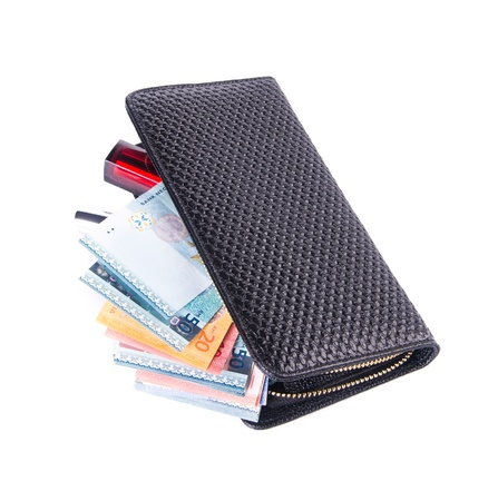 wallet. woman wallet with money on background Stock Photo - 21236678