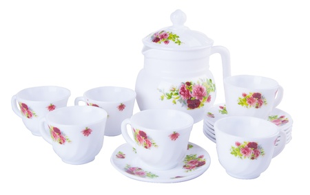tea sets. tea sets on background photo
