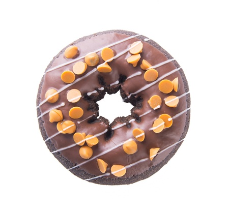chocolate donuts on white background photo