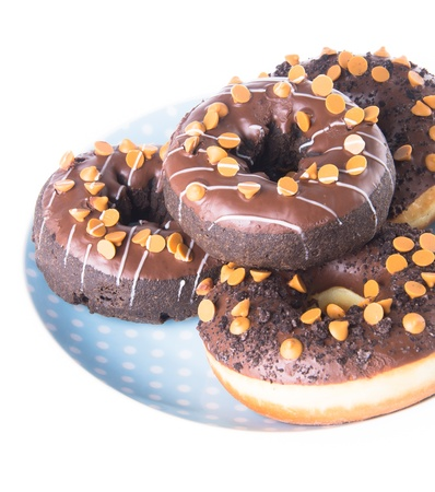 donut. chocolate donuts on background photo