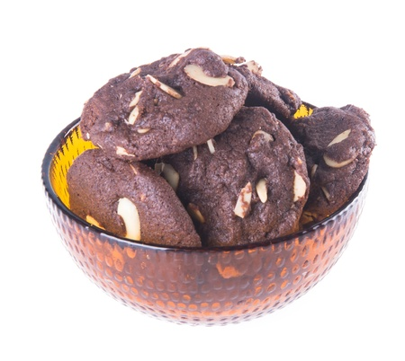 cookies. Almonds chocolate chips cookies on background photo