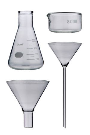 Lab. Laboratory glassware set on background photo