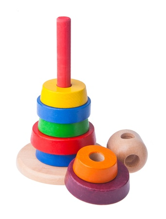 Baby toy. Learning child wood color pyramid toy photo