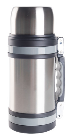 Thermo flask on the background. photo