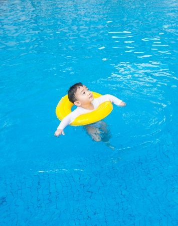 baby boy Activities on the pool, asian children swimming photo