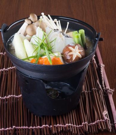 japanese cuisine  hot pot on background photo