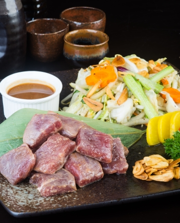 cubed: japanese cuisine beef cube on background