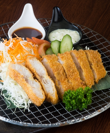 japanese cuisine fried fish on background photo