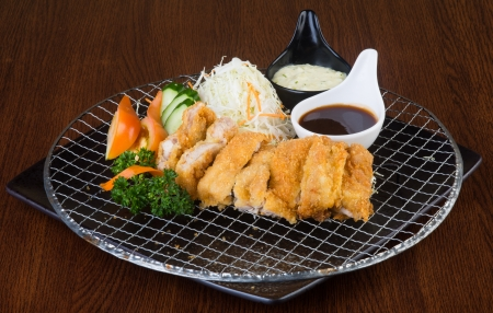 japanese cuisine fried chicken on the background photo