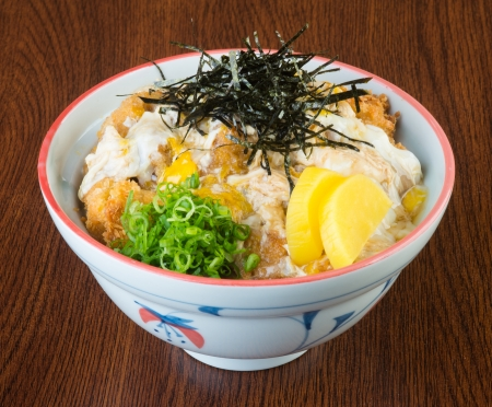 japanese cuisine fried chicken rice on background photo