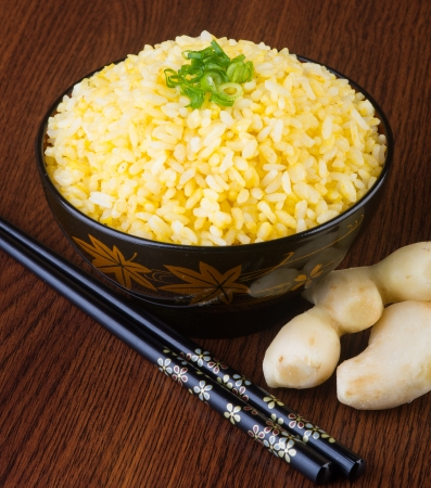 japanese cuisine ginger fried rice on background photo