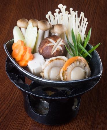 japanese cuisine hot pot on background