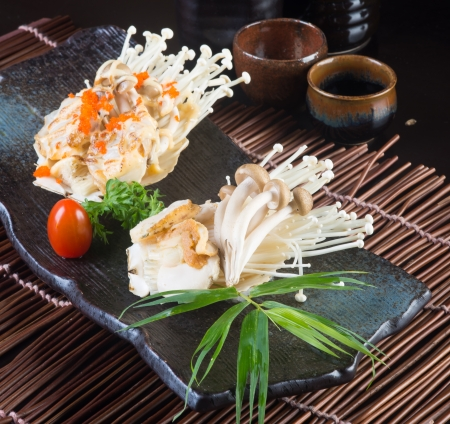japanese cuisine. grilled shell fish  photo