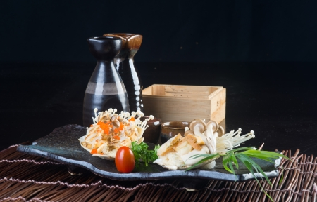 japanese cuisine. grilled shell fish on background photo
