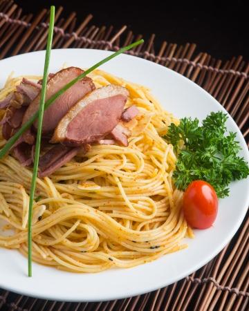 japanese cuisine. spaghetti on the background photo