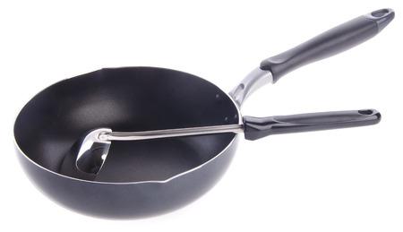 pan, metal frying pan, on a white background photo