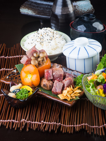japanese cuisine. beef cube on background photo