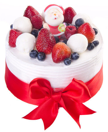 cake, Christmas ice cream cake on background photo