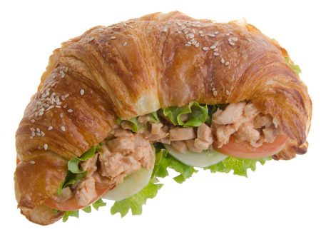sandwich, croissant sandwich, fast food for breakfast or lunch. photo