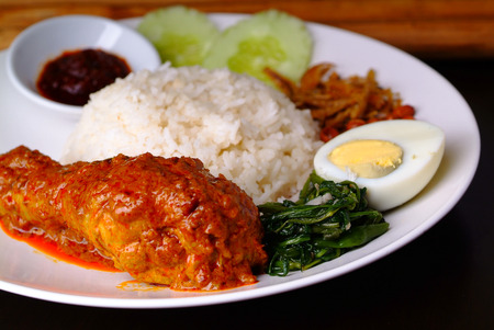 Nasi lemak traditional malaysian spicy rice dish Stock Photo