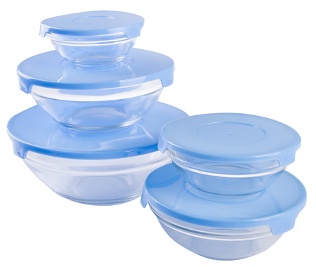 tupperware: food containers on a background.