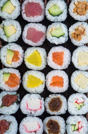 japanese cuisine. sushi on background photo
