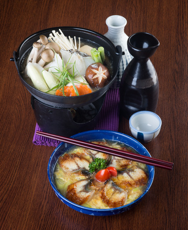 japanese cuisine. hot pot on background photo