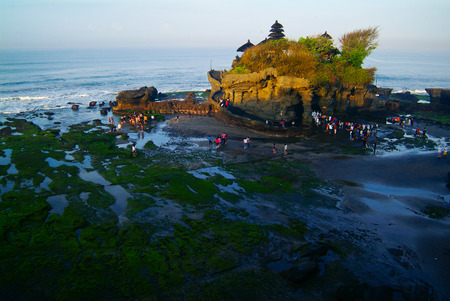 Bali Indonesia. BALI Landmark Tanah Lot temple in sunset. Bali island, indonesia photo