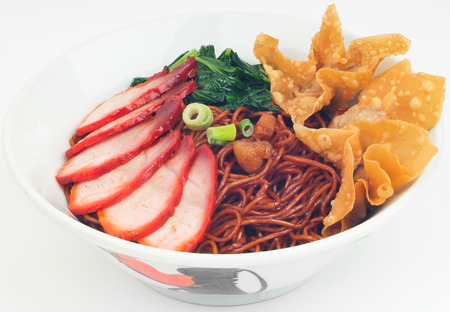Wanton noodle. Malaysia Food: dried wanton noodle