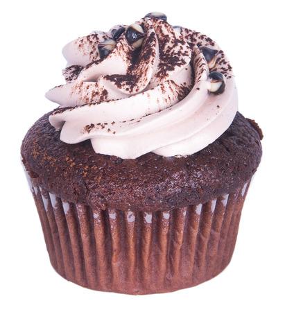 cupcake. chocolate cupcakes on the background. photo