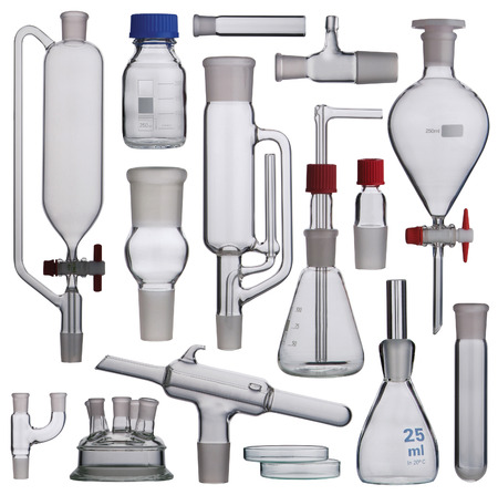 Laboratory glassware set on white background photo
