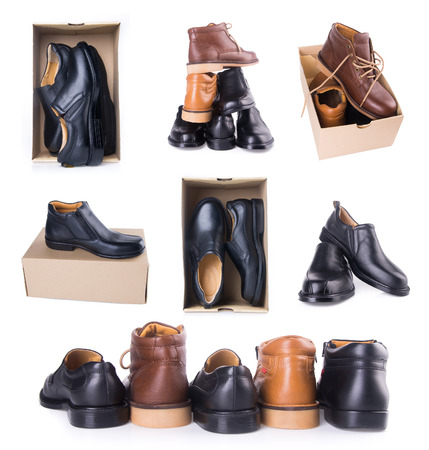 mans shoe collections on white background photo