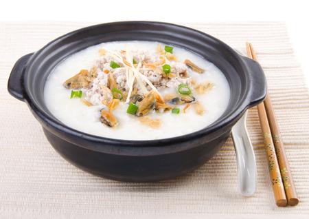 Porridge, pork Porridge (congee) served in claypot photo