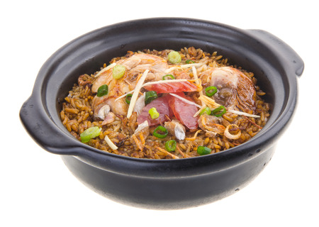 Claypot chicken rice. asia chinese food