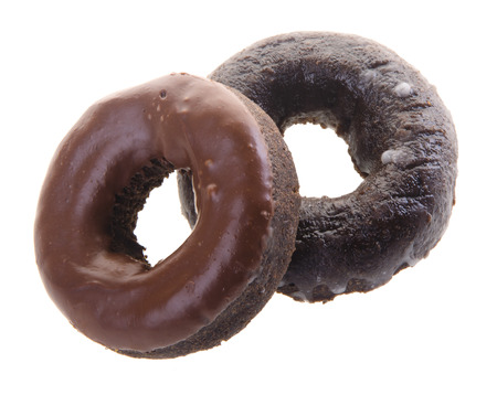 donuts, chocolate donuts on background photo
