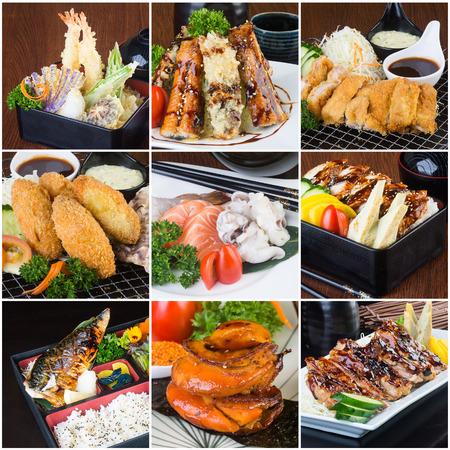 comida japonesa: japonés collage de alimentos en el fondo. Foto de archivo