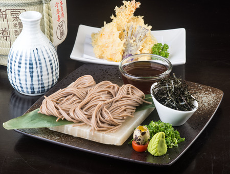 buckwheat noodle: japanese cuisine. udon on background