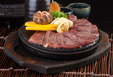 cubed: japanese cuisine. beef cube on background