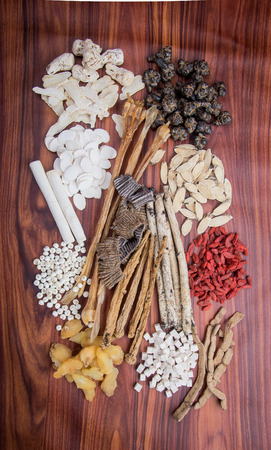 chinese herbal medicine on background photo