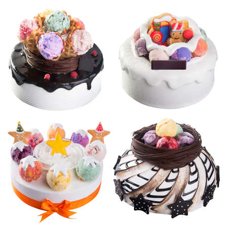 cake. ice cream cakes collection on background. photo