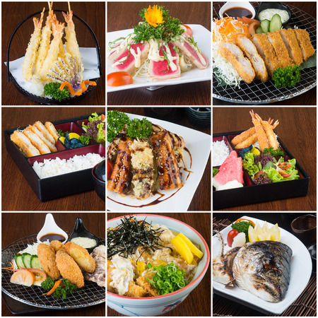 japanese food collage on the background. photo