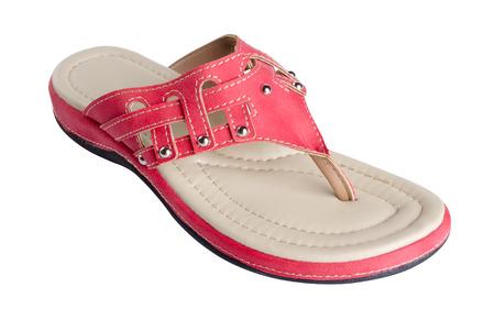 sandal: sandalia de la mujer en el fondo blanco