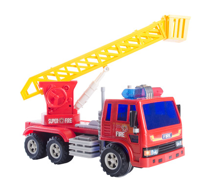 antique fire truck: toy fire car on white background