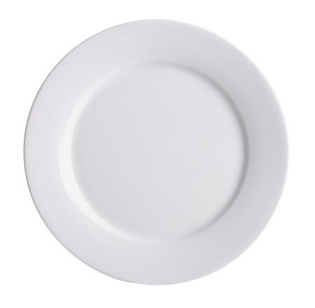 plato de comida: placa de cer�mica en el fondo blanco